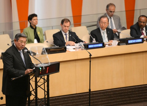 President Yudhoyono delivered speech at the UN Climate Summit 2014, in New York, Tuesday (23/9). Photo : cahyo/presidenri.go.id
